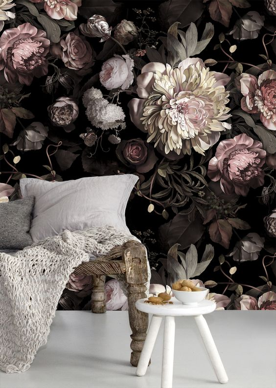 realistic floral wallpaper, especially moody, is a very edgy option, which seems to keep being in trend