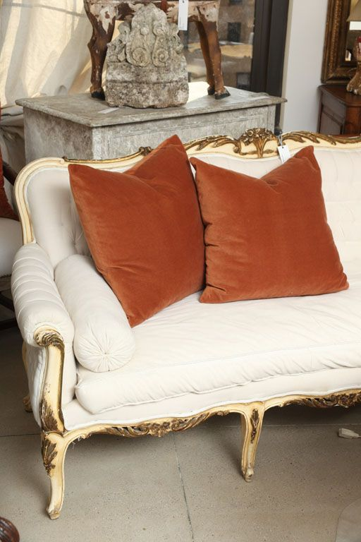 rust velvet pillows are great for adding fall colors and shades and feel very fall-like