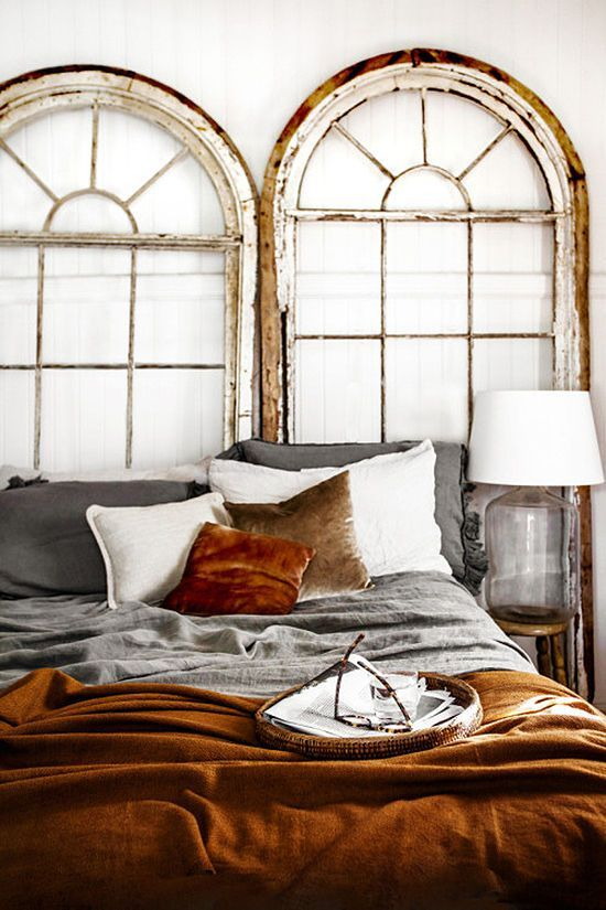 a rust velvet pillow and bedspread plus greys is a cool idea to embrace the fall