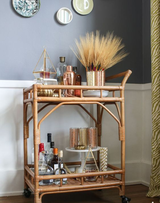 a simple fall bar cart with a wheat arrangement and some copper details for a warming up look