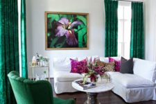 14 hang bold emerald curtains in your neutral space to make a bright statement