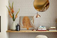 14 mid-century modern printed wallpaper helps to spruce up this nook and highlight it