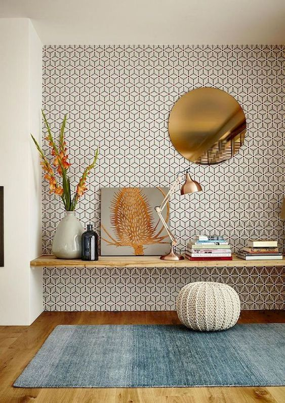 mid-century modern printed wallpaper helps to spruce up this nook and highlight it