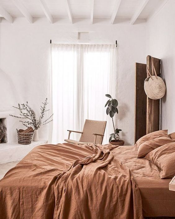 a rust-colored bedding set to add color and embrace the fall