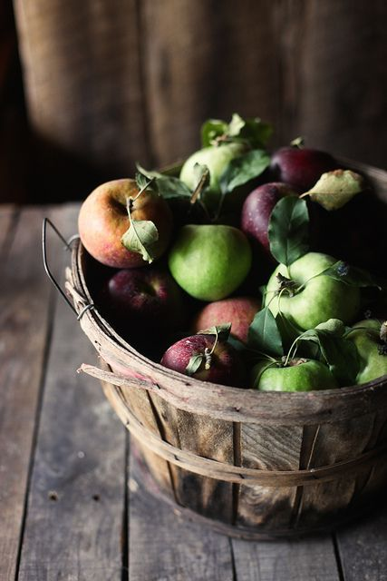 display fresh apples in a bushel basket and you'll get decor and food at the same time