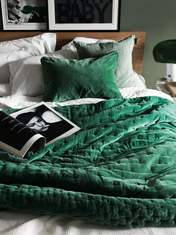 velvet emerald bedding is a cool idea to add color to your bedroom and make it cozier