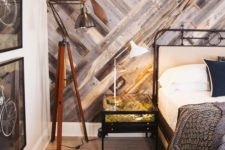 16 weathered wood accent wall with a geometric pattern for a warm rustic feel in the space