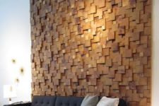 20 a creative textural and dimensional wood piece accent wall is an ultra-modenr yet comforting idea