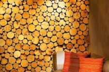 21 bring a rustic feel to your space with a wood slice accent wall, it may be real or faux