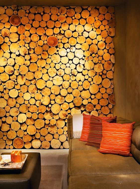 bring a rustic feel to your space with a wood slice accent wall, it may be real or faux