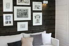 22 a dark stained wood accent wall stands out a lot in this white space and adds coziness