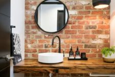26 make your contemporary bathroom more eye-catching with just one brick accent wall