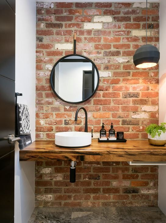 make your contemporary bathroom more eye-catching with just one brick accent wall