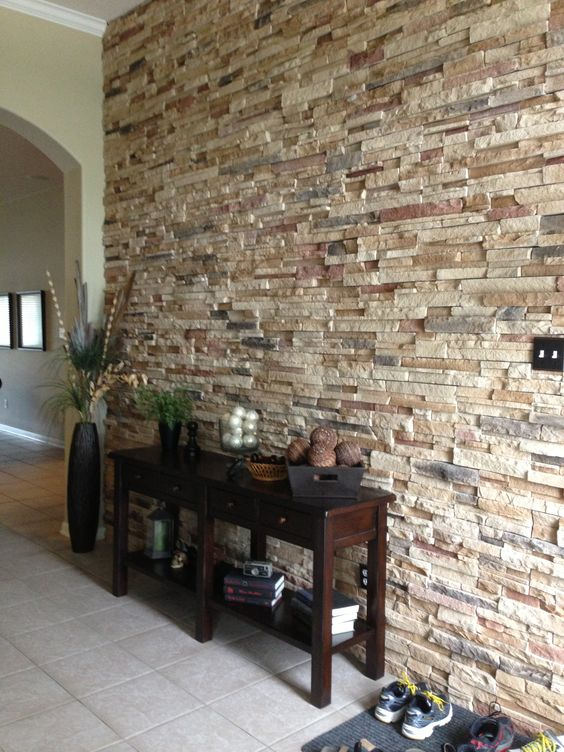 make your entryway special and interesting with a stone accent wall, which can be faux or real