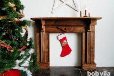 DIY faux mantel of wood