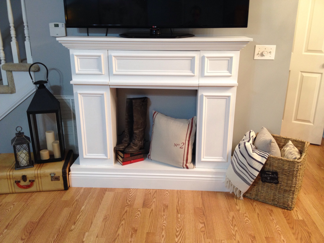 DIY fake fireplace with storage space inside