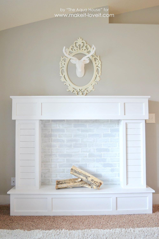 DIY fake wood and brick fireplace