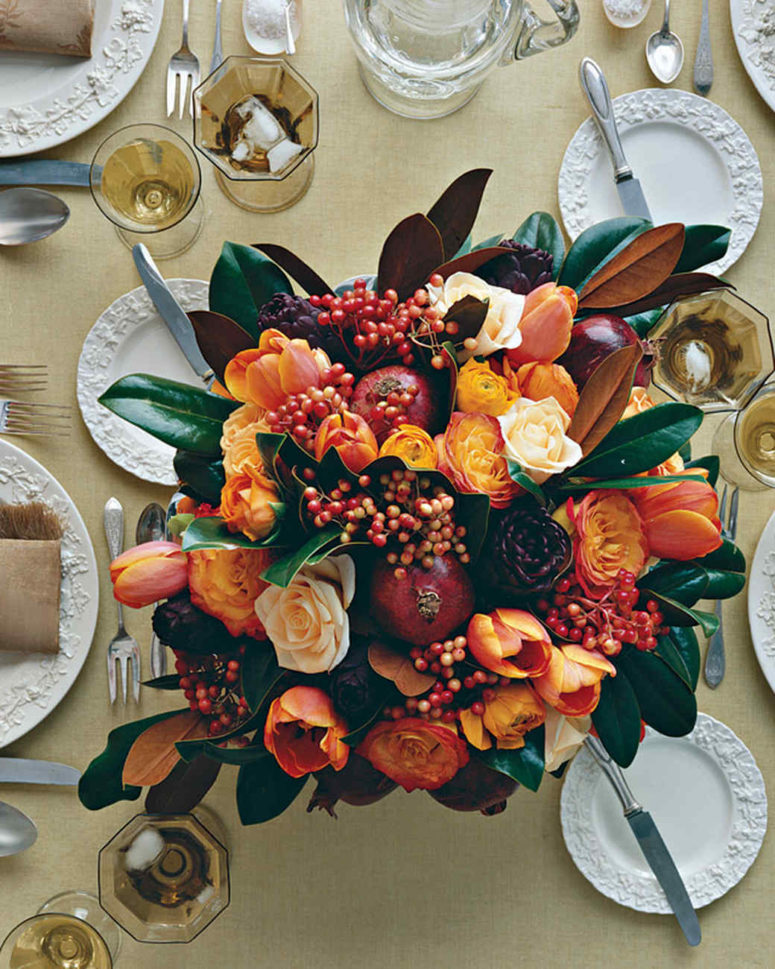 DIY bright centerpiece with pomegranates, tulips and roses (via www.marthastewart.com)