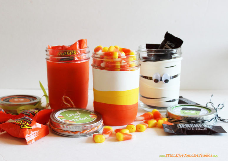 DIY Halloween treat jars with colorful balloons (via www.ithinkwecouldbefriends.com)
