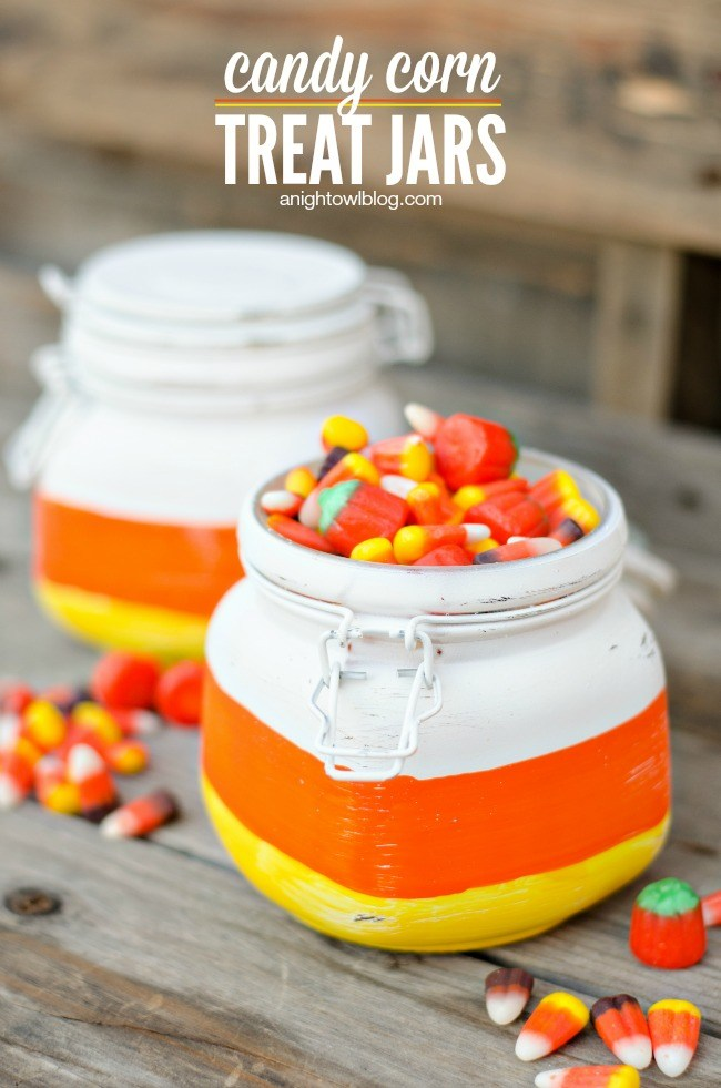 DIY painted candy corn treat jars (via tatertotsandjello.com)