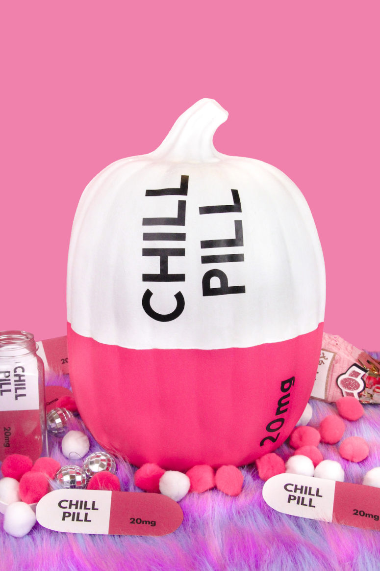 DIY chill pill Halloween pumpkin in bold pink (via briteandbubbly.com)