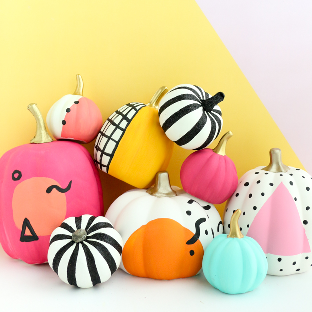 DIY 80s inspired colorful pumpkins (via akailochiclife.com)