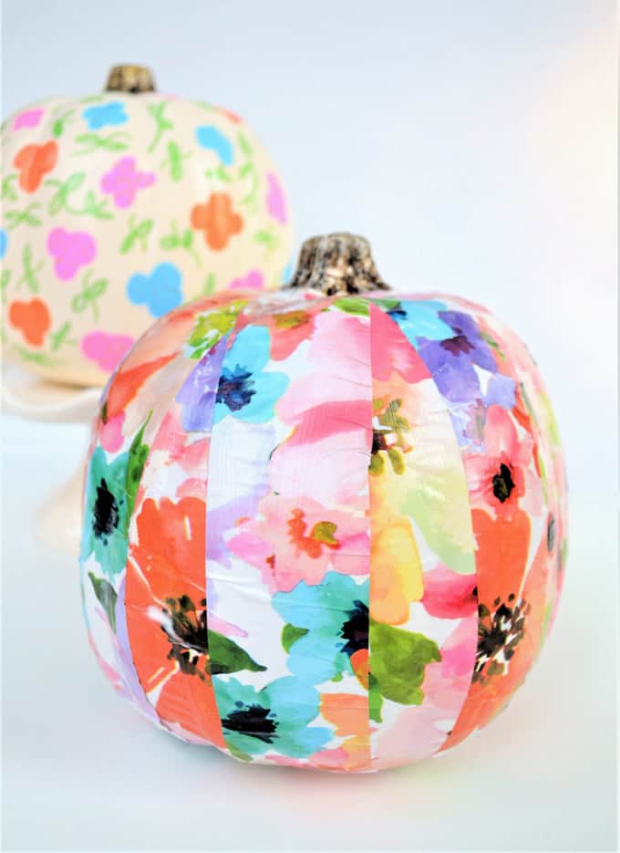 DIY easy and fast floral wallpaper decoupage pumpkins