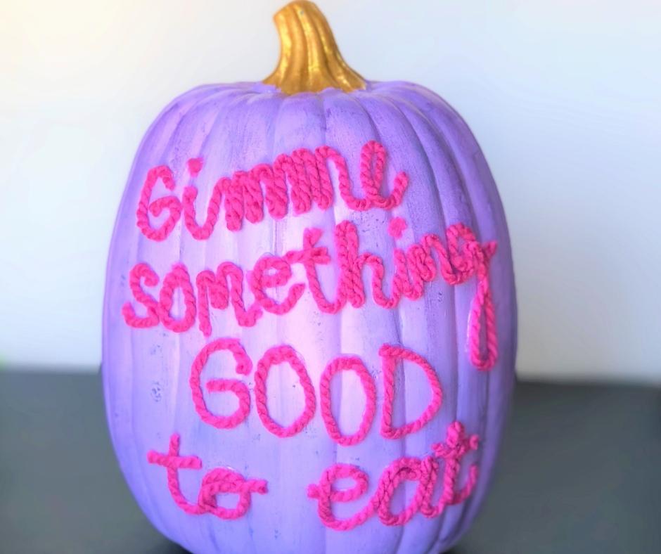DIY no carve yarn message pumpkins