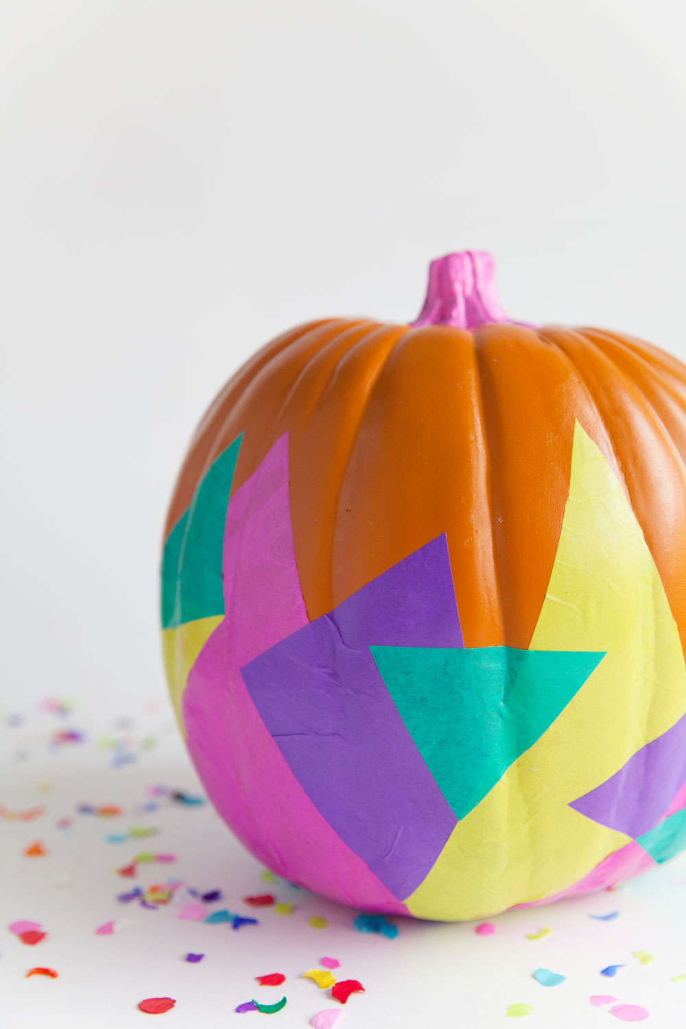 DIY colorful tissue covered pumpkin with trendy geometry