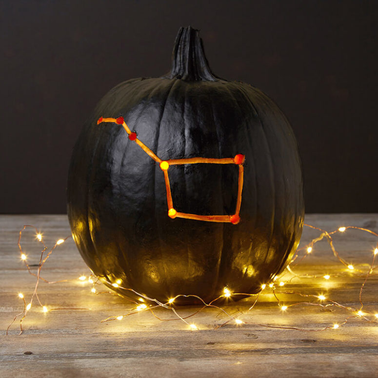 DIY elegant black and orange drilled pumpkin (via blog.modcloth.com)