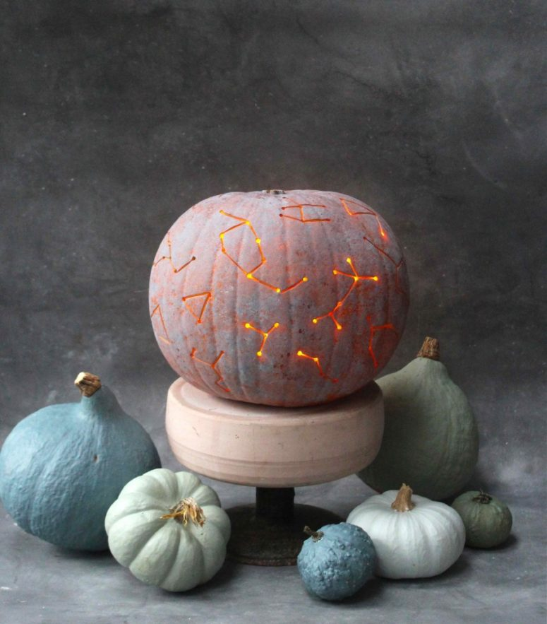 DIY whitewashed drilled constellation pumpkin (via www.katescreativespace.com)