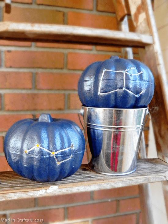 DIY bold blue drilled constellation pumpkins (via madincrafts.com)