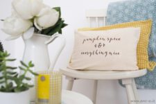 DIY flal pillow with heat transferred words