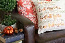 DIY pillow with a fall transferred poem