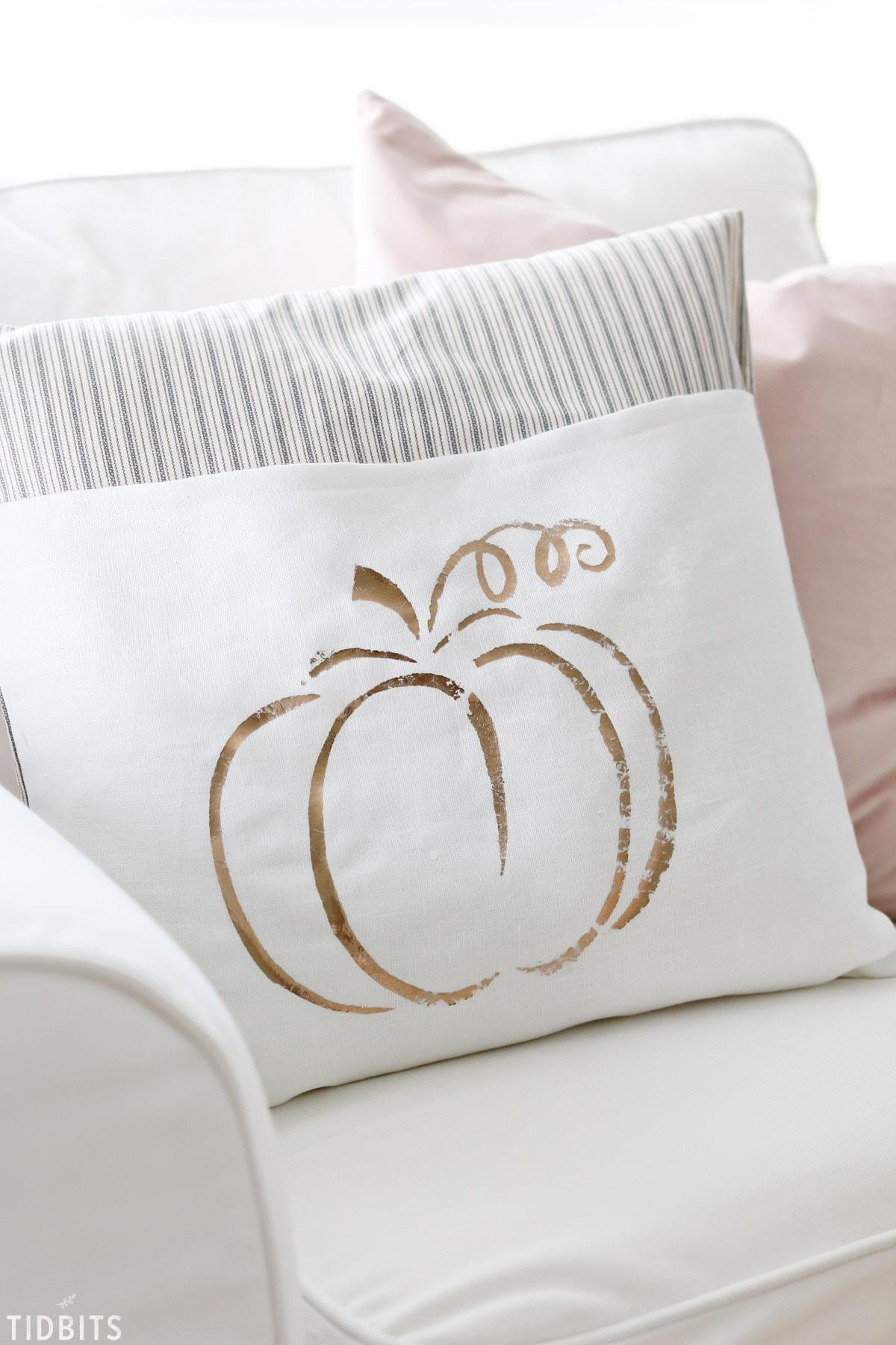 DIY pillows with metallic paint words