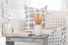DIY checked quilted pillow for fall