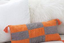 DIY modern patchwork pillow in grey and orange