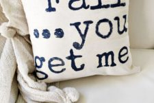 DIY casual fall pillow with words