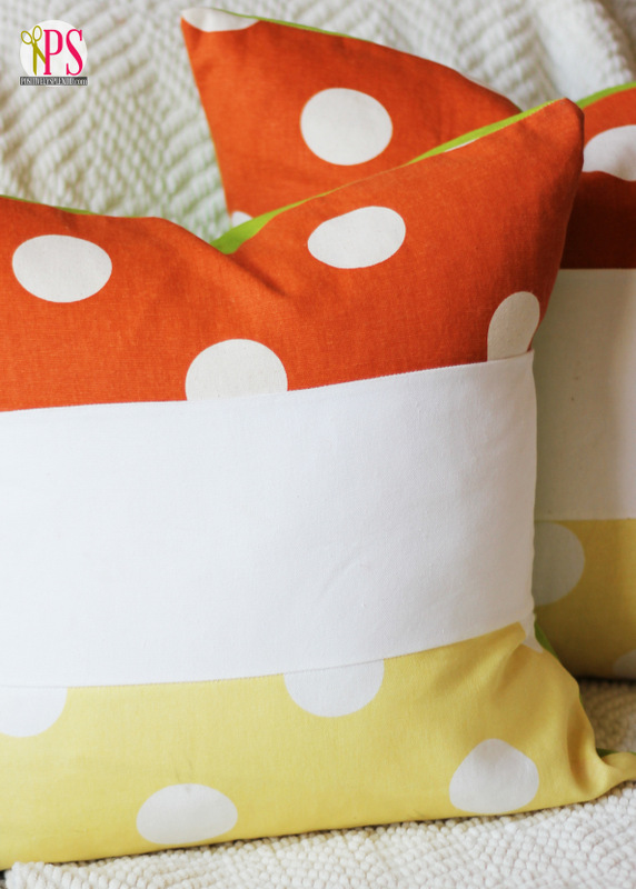 DIY super bold color block pillow inspired by candy corns (via www.positivelysplendid.com)