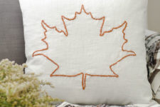 DIY fall leaf embroidered pillow