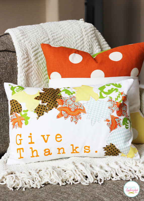 DIY appliqued pillow for fall or Thanksgiving (via www.positivelysplendid.com)