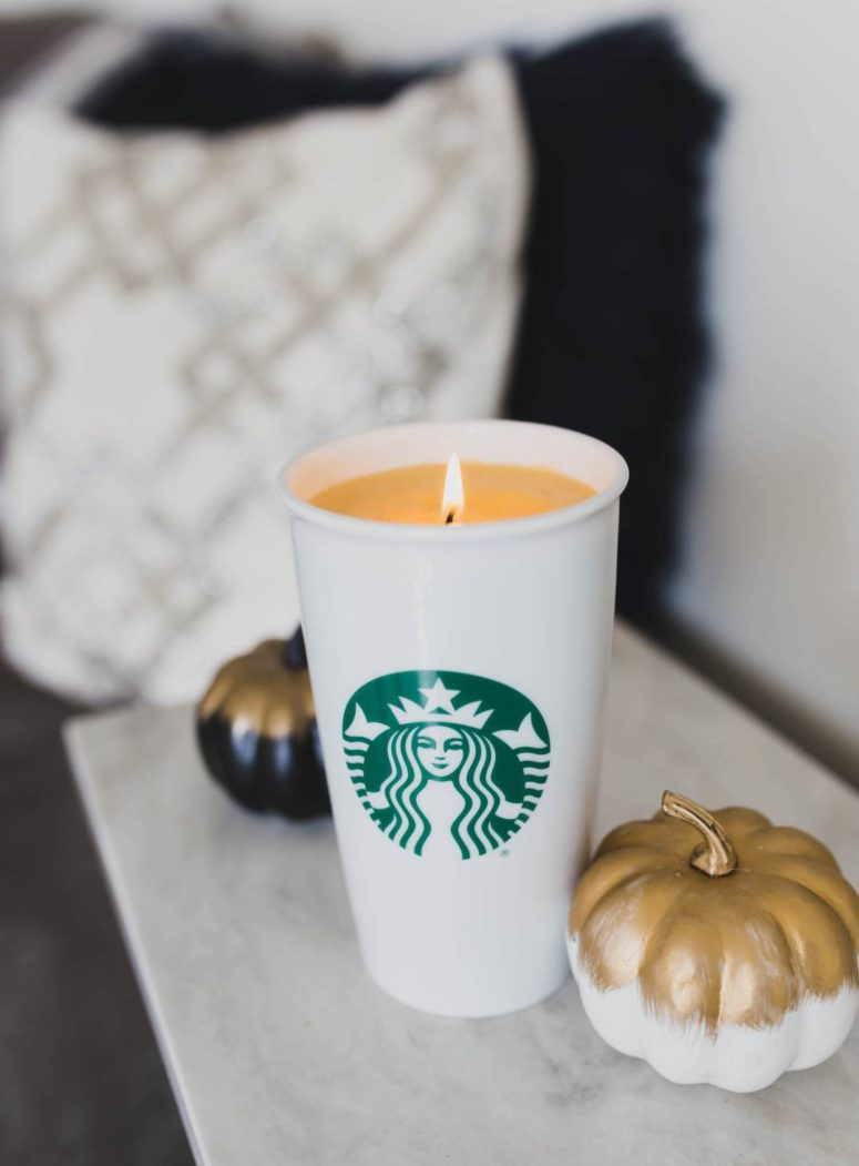 DIY pumpkin spice latte candle in a coffee cup (via twinspiration.co)