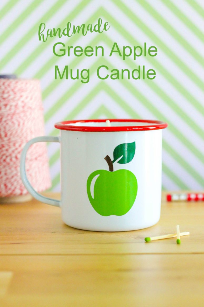 DIY apple candle in an apple printed mug (via thecraftingchicks.com)