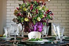 DIY oversized refined veggie and fruit centerpiece