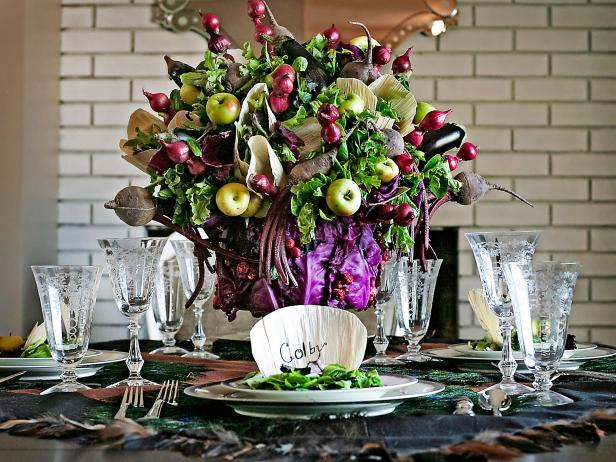 DIY oversized refined veggie and fruit centerpiece (via www.hgtv.com)