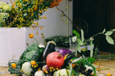 DIY bold veggies and fruits centerpiece with a texture