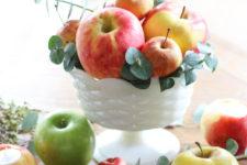 DIY 5-minute centerpiece of apples and eucalyptus