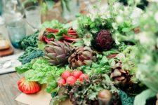 DIY lush veggie and greenery fall centerpiece