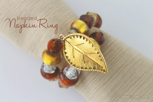 DIY bead and leaf charm napkin rings (via www.shelterness.com)