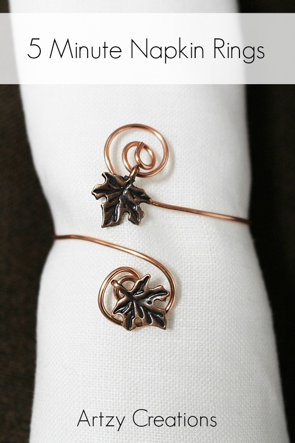 DIY 5 minute napkin rings with leaf charms (via artzycreations.com)
